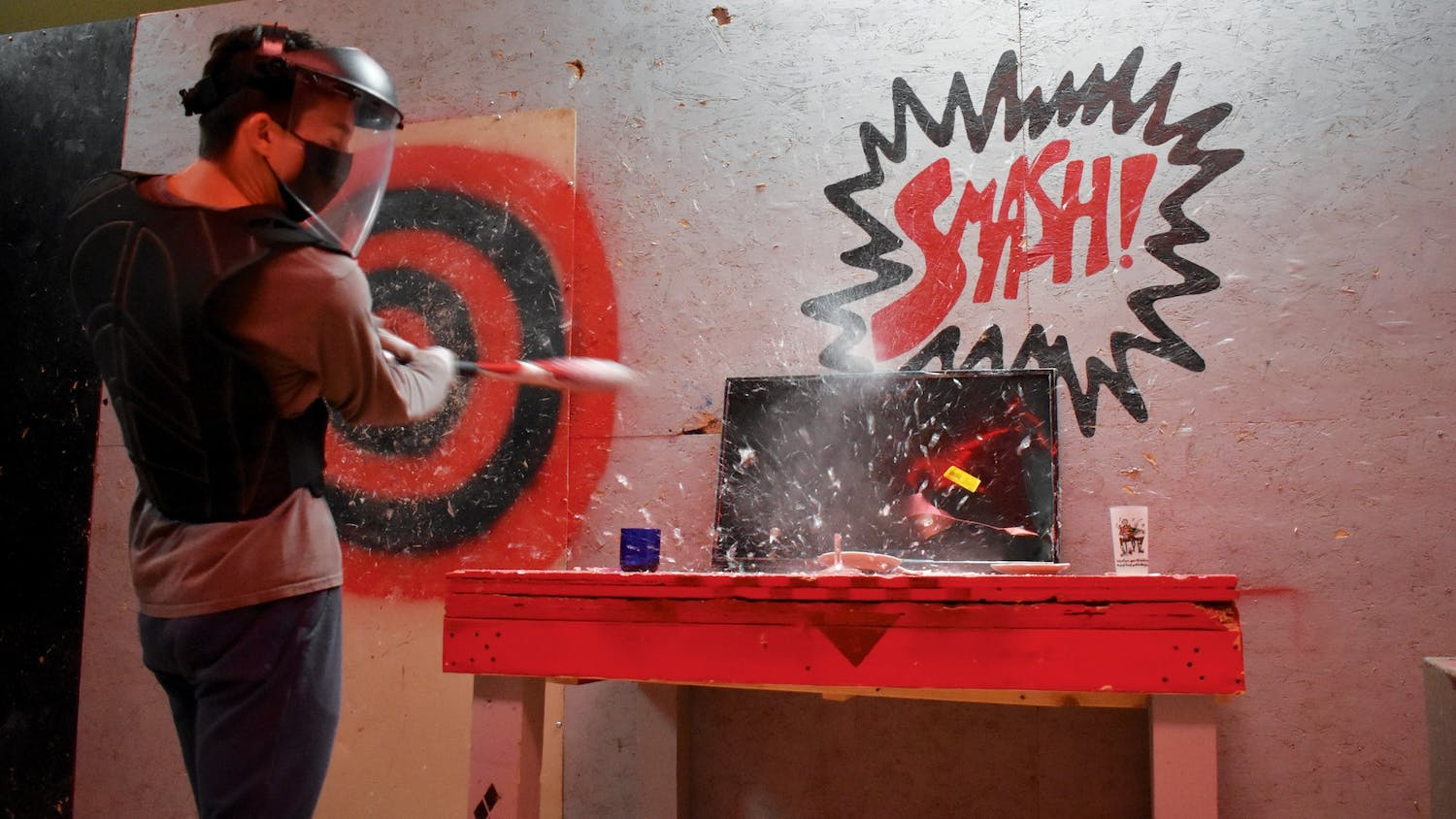 The Smash Room in West Columbia is the perfect place to relieve stress. Visitors are allowed to smash items such as mugs, glasses and even televisions.