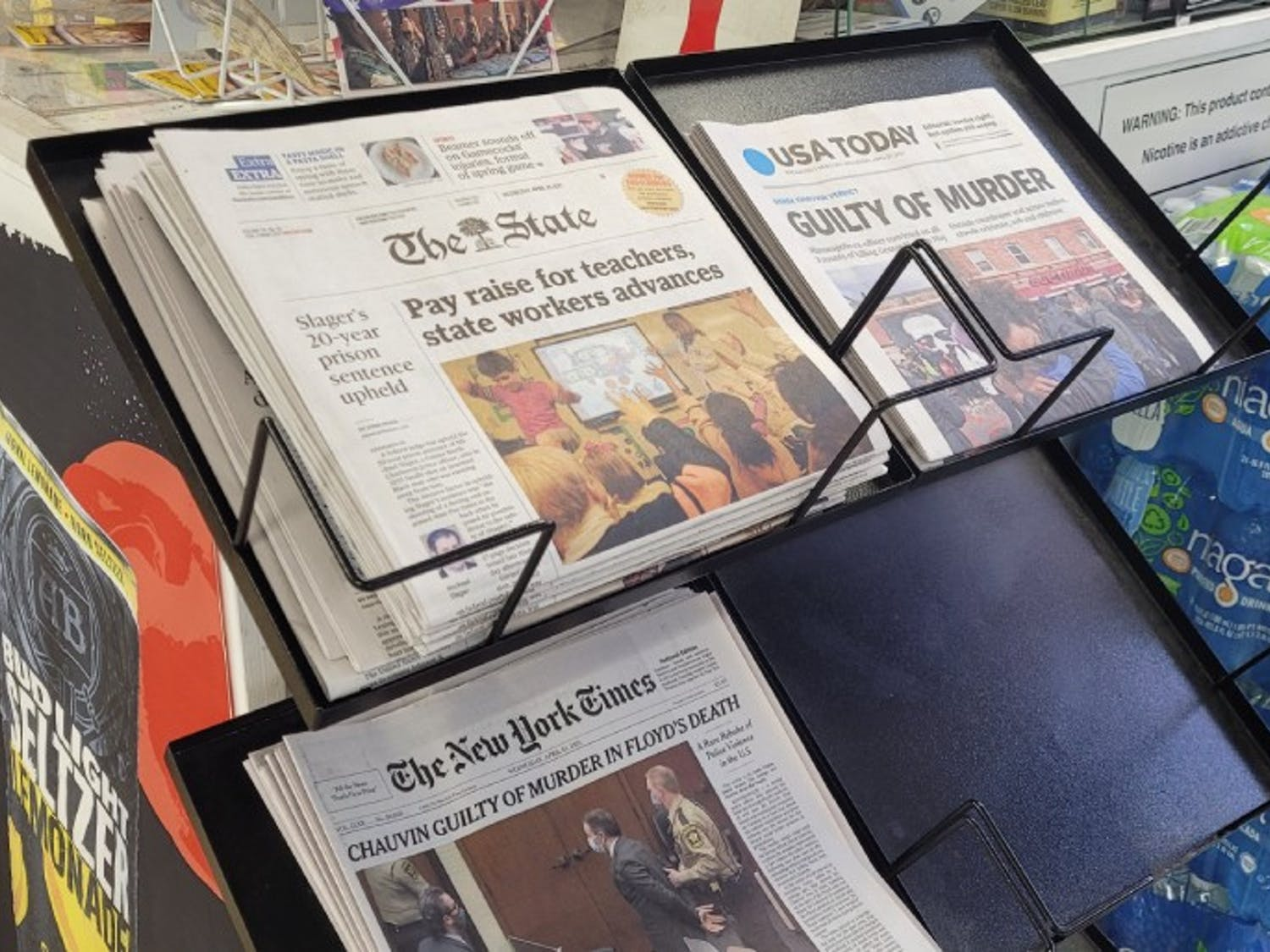 A newsstand for The State Newspaper sits in Columbia News Stand on Washington Street.