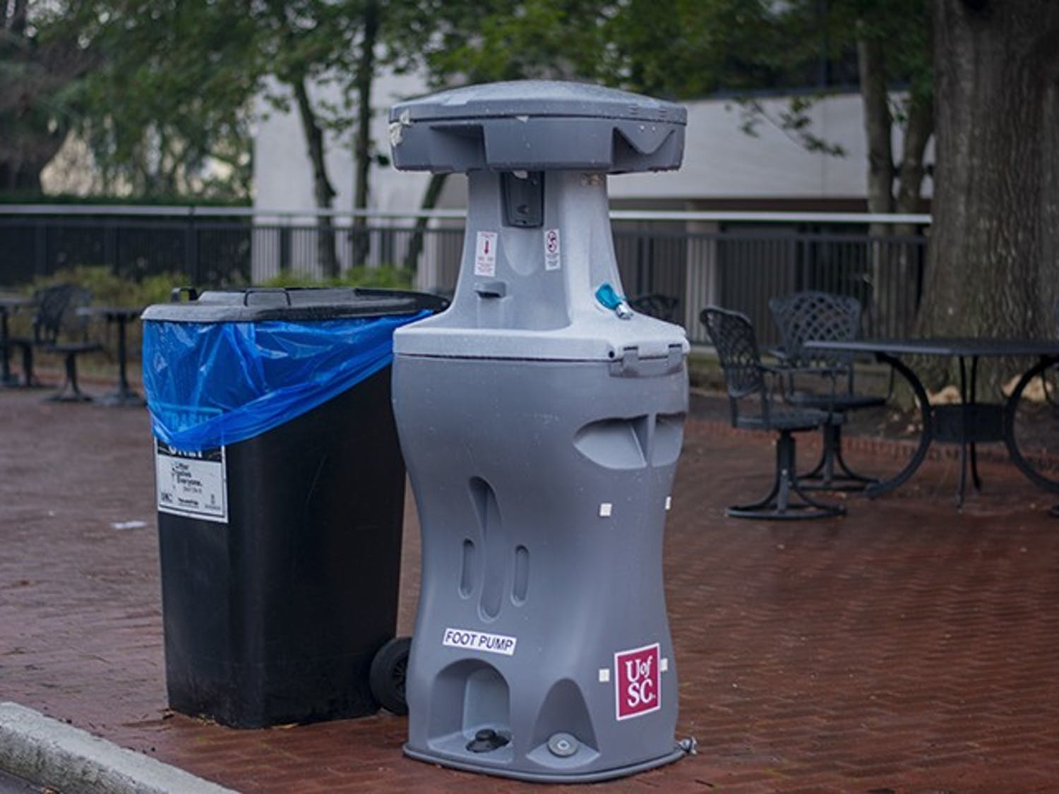 A handwashing station sits on Greene Street outside of Russell House. Handwashing stations are one of the various safety measures implemented by USC as COVID-19 cases continue to rise nationwide.