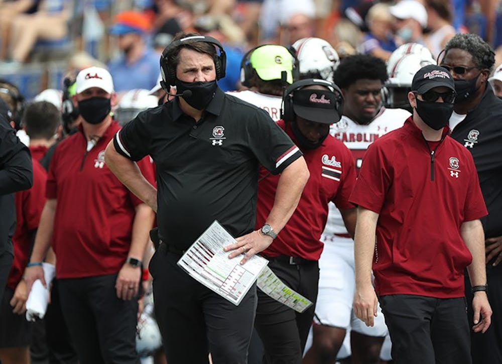 <p>Head coach Will Muschamp stands on the sidelines in Saturday's loss to Florida. The Gamecocks visit Nashville this Saturday against Vanderbilt.&nbsp;</p>