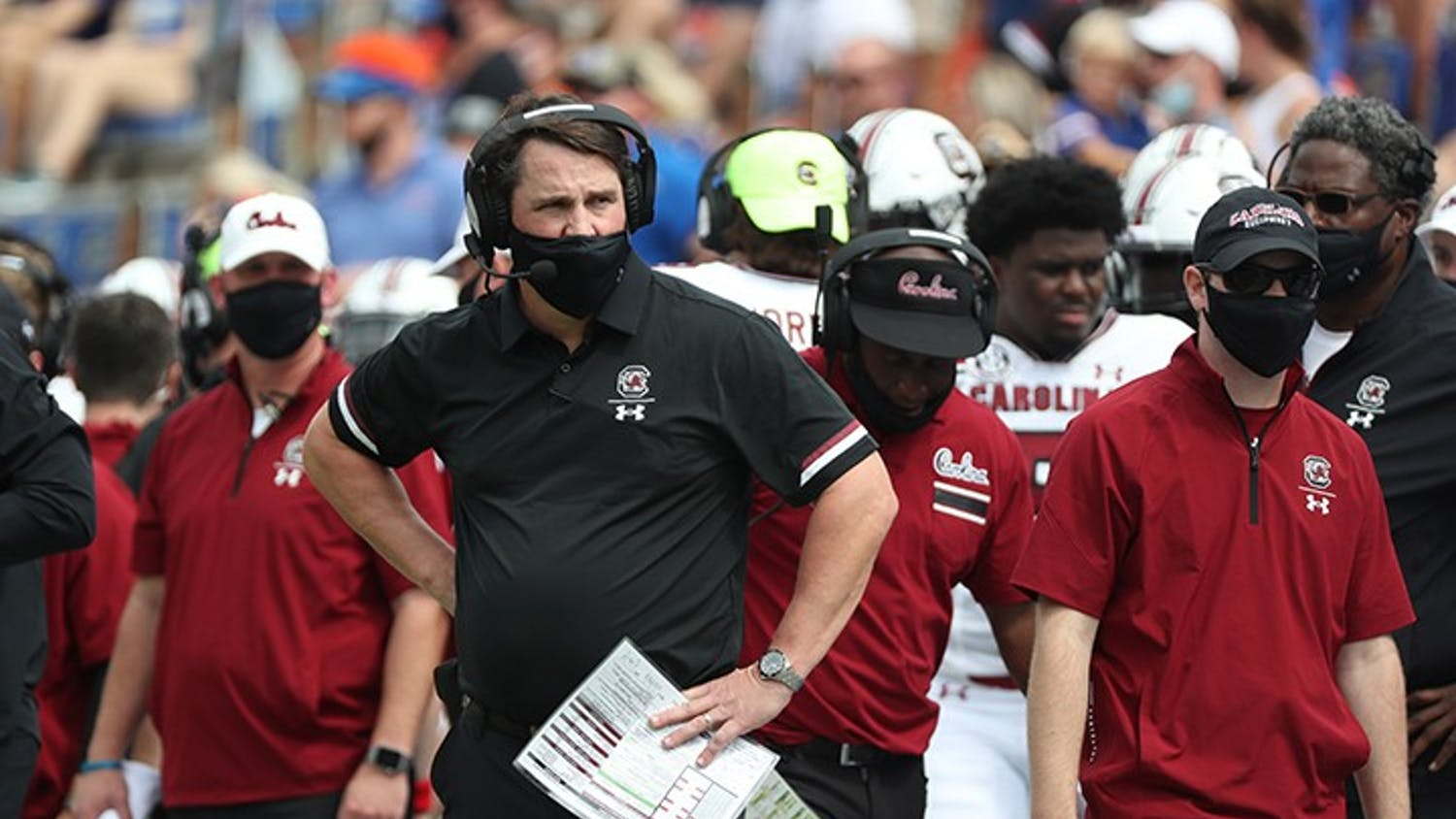 Head coach Will Muschamp stands on the sidelines in the Week 2 game against Florida. The Gamecocks fell to 2-4 with Saturday's loss to Texas A&M.
