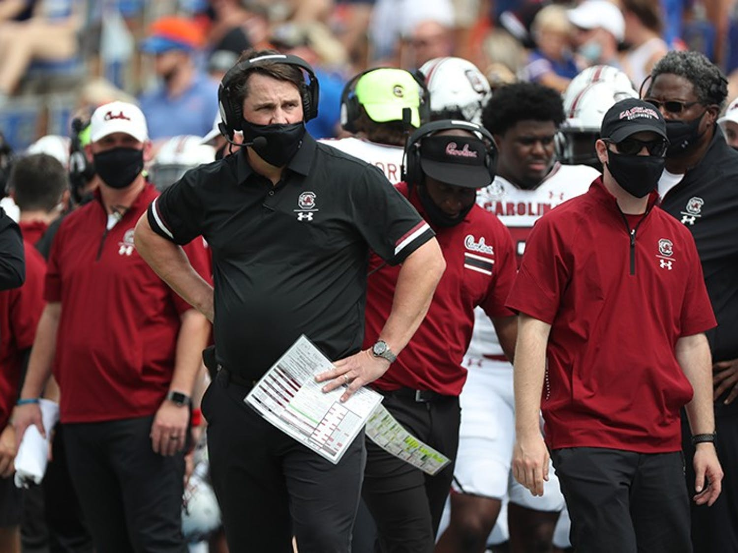 Head coach Will Muschamp stands on the sidelines in Saturday's loss to Florida. The Gamecocks visit Nashville this Saturday against Vanderbilt.