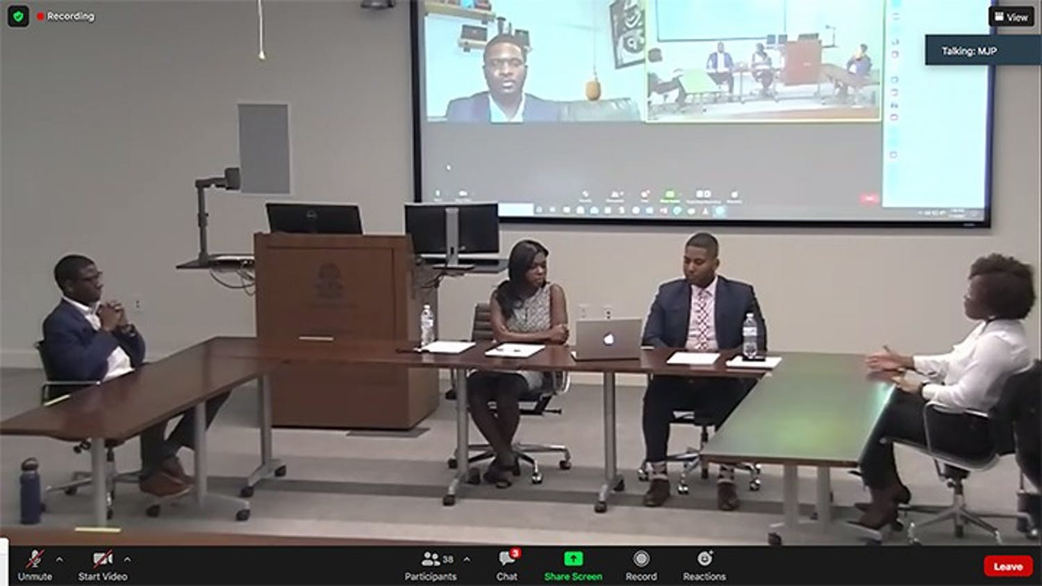 Lyric Swinton (right) speaks during a Thursday virtual panel held by the National Black Law Students Association. The group discussed issues regarding social injustice and making changes moving forward.