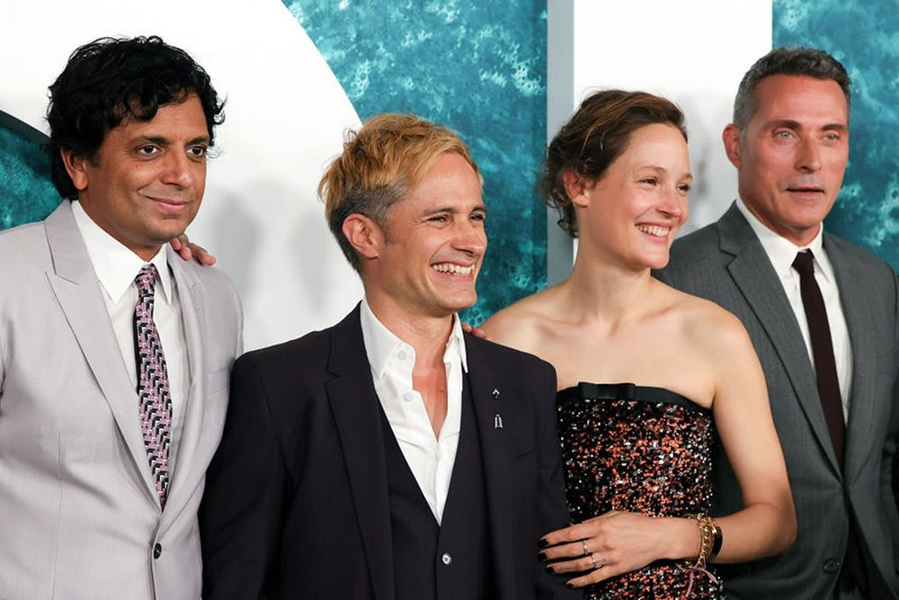 """From left to right: M. Night Shyamalan, Gael García Bernal, Vicky Krieps and Rufus Sewell attend the """"Old"""" New York premiere at Jazz at Lincoln Center on July 19, 2021 in New York City. (Dia Dipasupil/Getty Images/TNS)"""