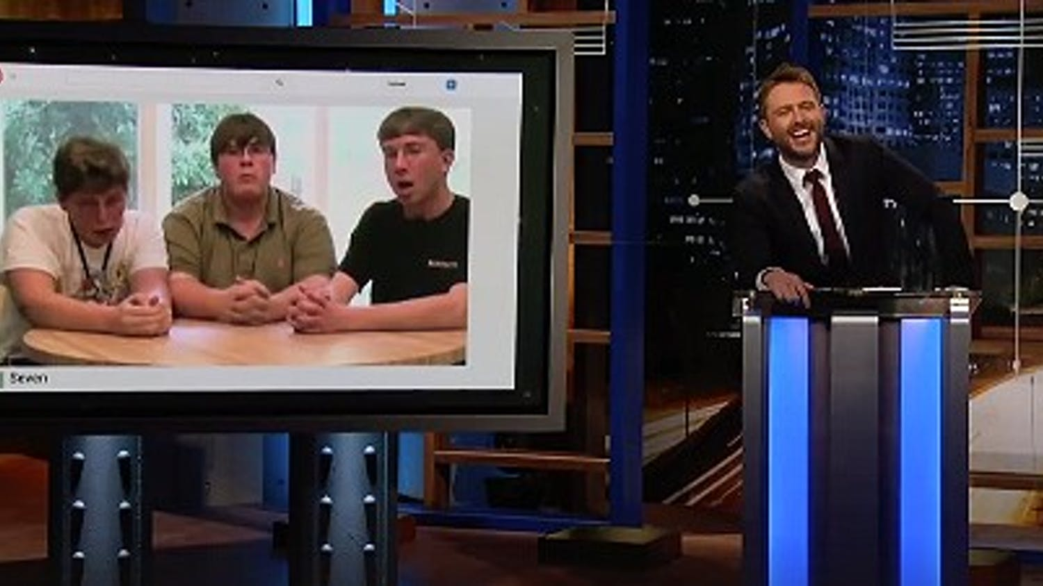 """Stephen Simmons and Scott McFall's YouTube video makes its way to """"@midnight with Chris Hardwick"""" on Comedy Central."""