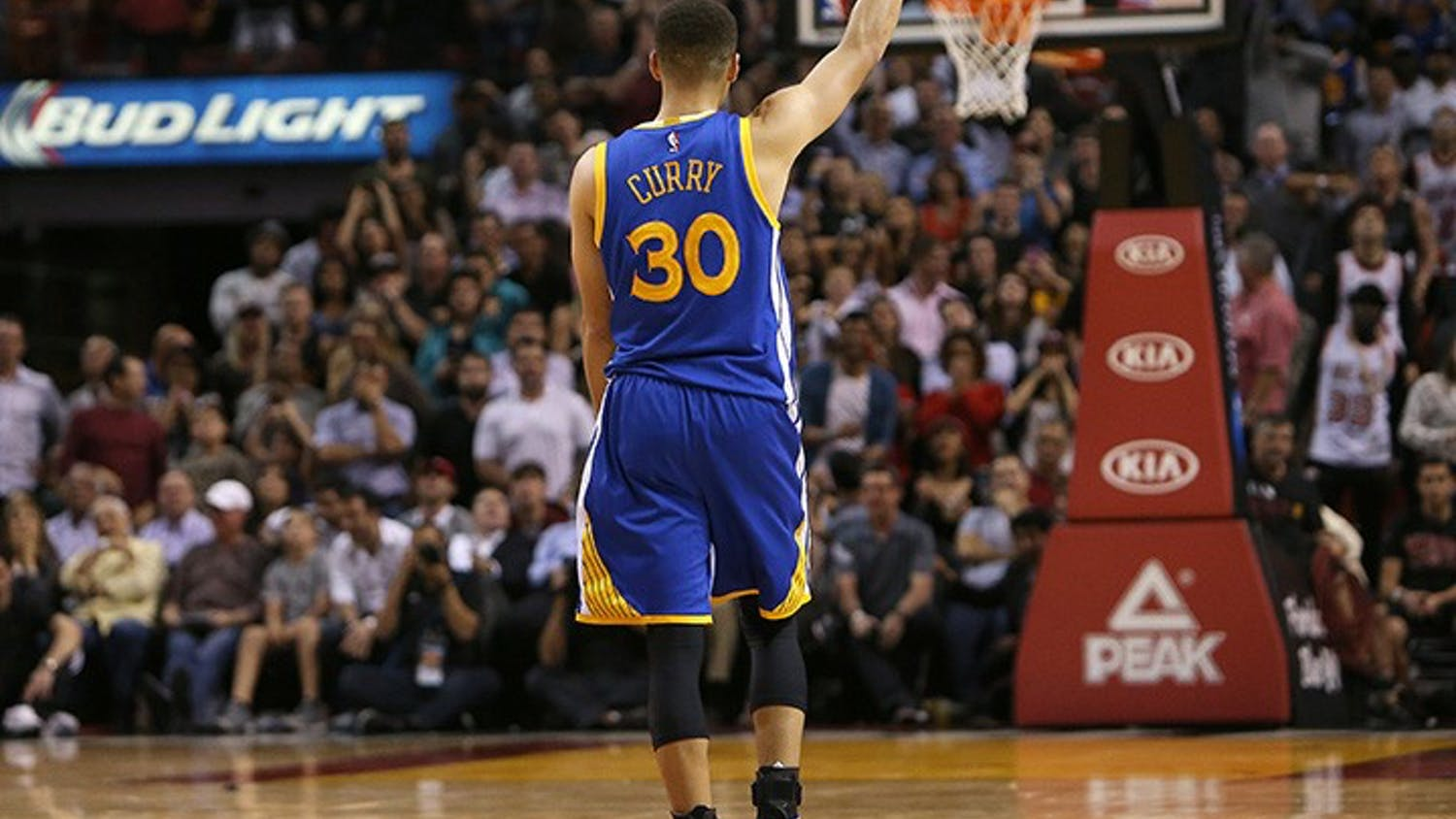 The Golden State Warriors' Stephen Curry reacts after hitting a 3-pointer against the Miami Heat during the fourth quarter at the AmericanAirlines Arena in Miami on Wednesday, Feb. 24, 2016. The Warriors won, 118-112. (David Santiago/Miami Herald/TNS)