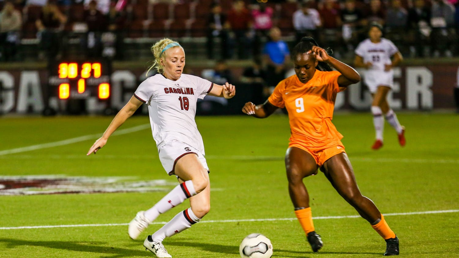 Defender Grace Fisk dribbles around a defender in a game during the 2019 season against Tennessee. The Gamecocks lost 1-0 to the Volunteers on Friday.