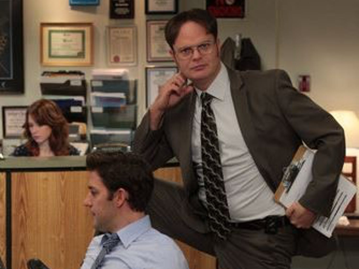 """Dwight Schrute, as played by Rainn Wilson, is the heart-breaker of """"The Office,"""" with dreamyeyes and a stylish middle part."""