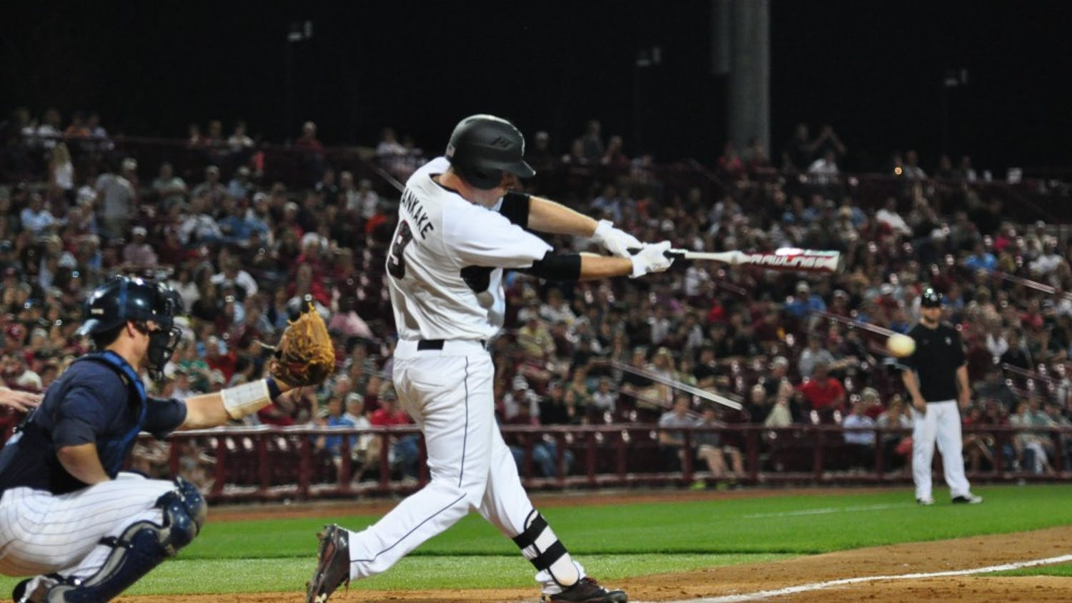 Sophomore shortstop Joey Pankake hit a home run in the bottom of the ninth inning to give the Gamecocks a 6-5 win over The Citadel at Carolina Stadium Tuesday night.