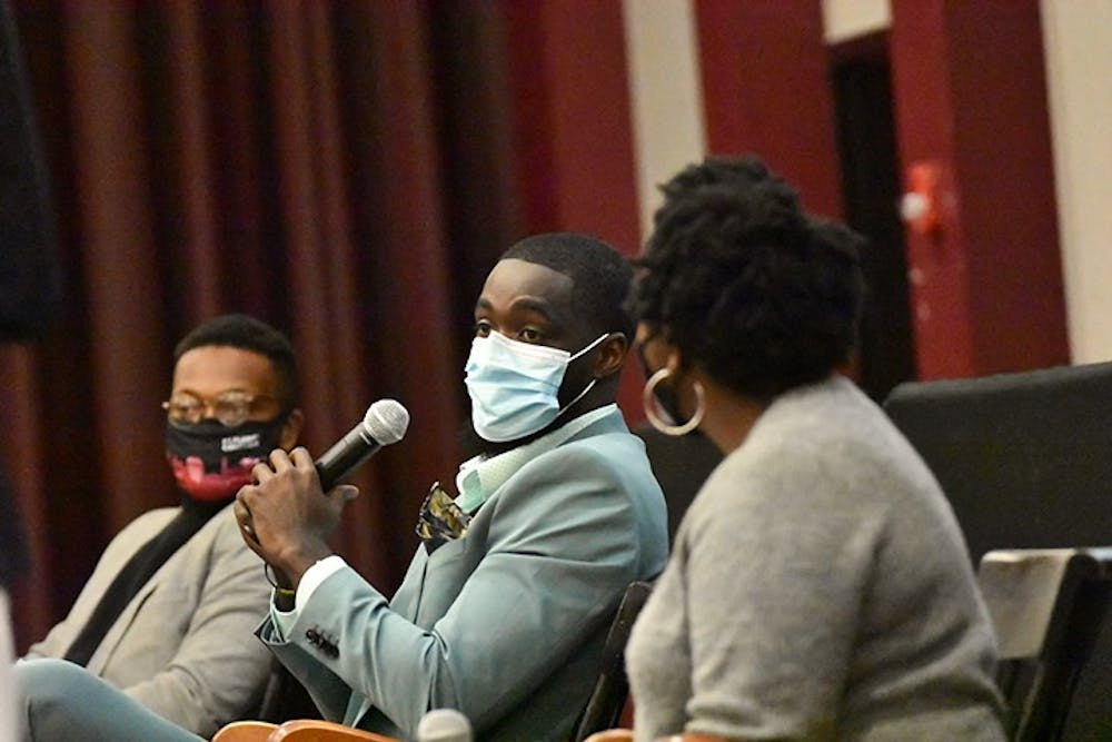 "<p>Brandon Ross speaks at the ""Beneath the Bricks"" program, an event to celebrate Black History Month on Friday, Feb. 19. The event was hosted by Student Government and the Freshmen Council.</p>"