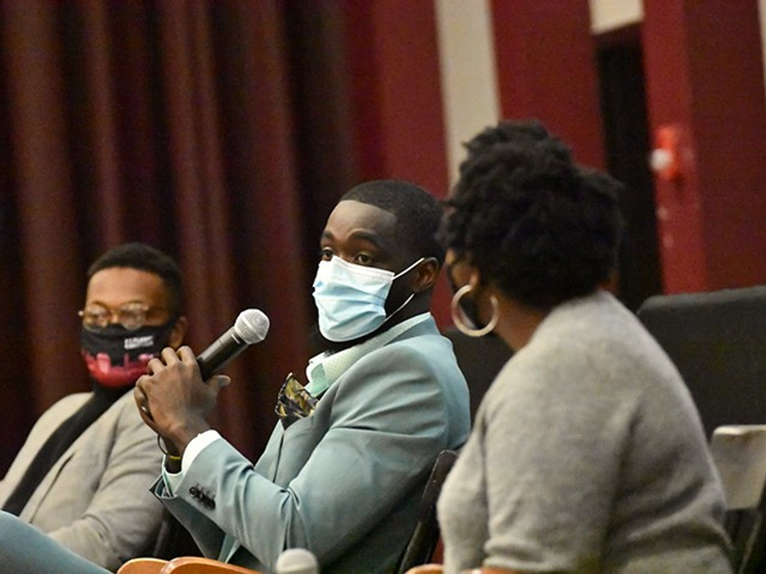 """Brandon Ross speaks at the """"Beneath the Bricks"""" program, an event to celebrate Black History Month on Friday, Feb. 19. The event was hosted by Student Government and the Freshmen Council."""