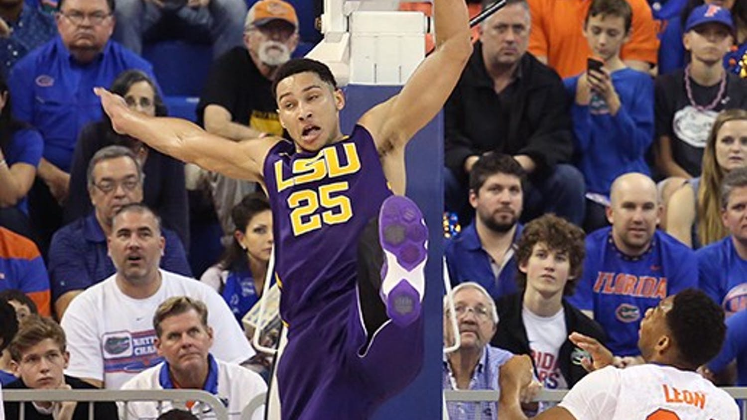 LSU's Ben Simmons (25) leaps for a rebound against Florida at the Stephen C. O'Connell Center in Gainesville, Fla., on Saturday, Jan. 9, 2016. Florida won, 68-62. (Stephen M. Dowell/Orlando Sentinel/TNS)