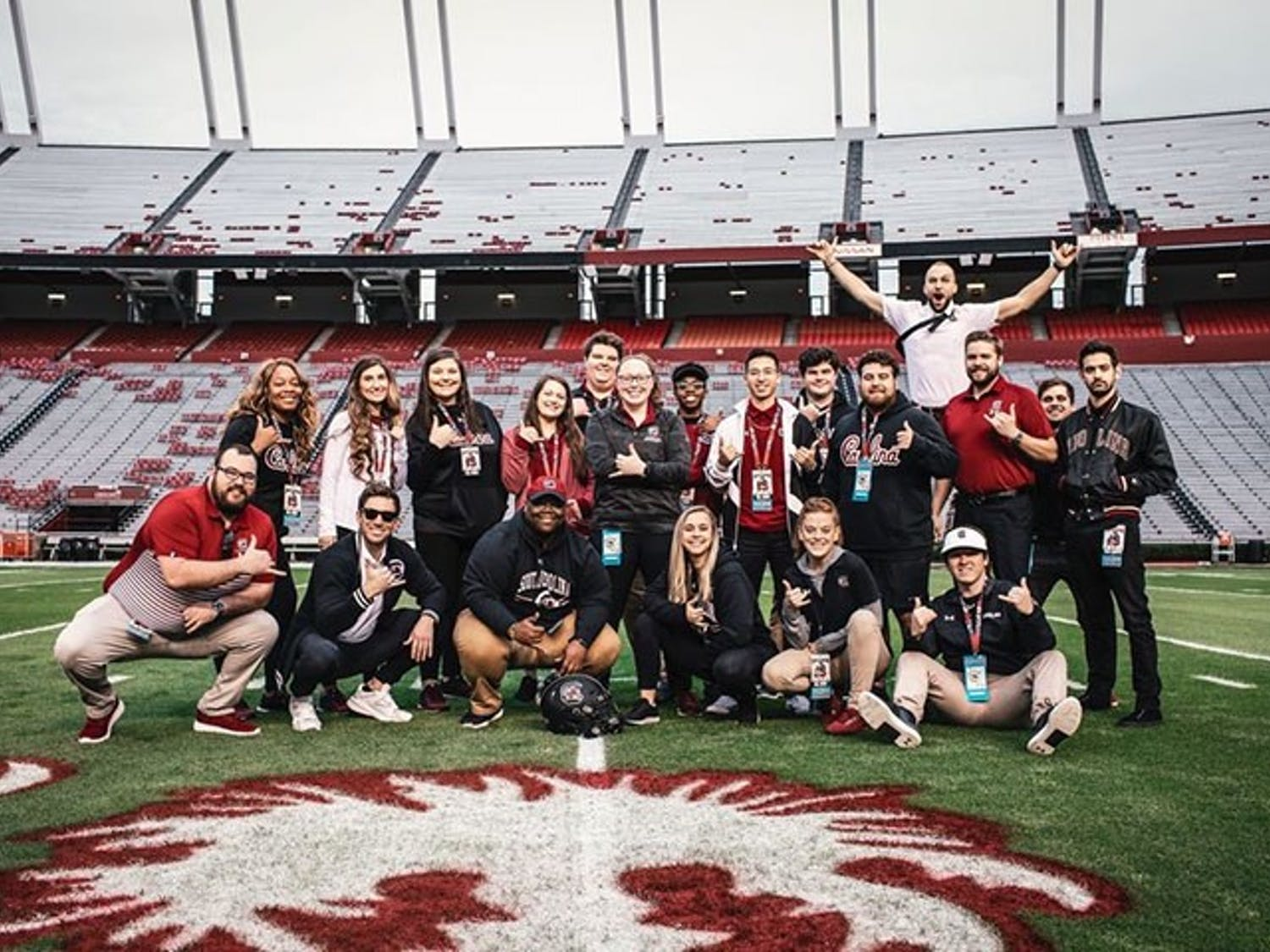 The media team gathered for a team photo at Williams-Brice Stadium before a home game during the 2019 season.