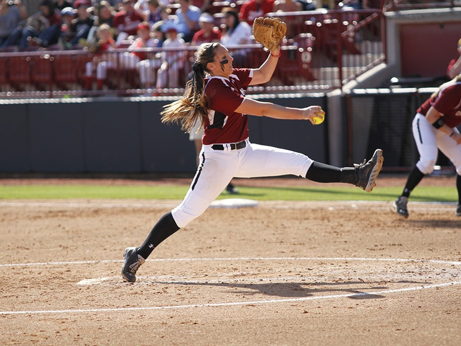 Redshirt sophomore Julie Sarratt pitched six innings in USC's first game Wednesday afternoon.