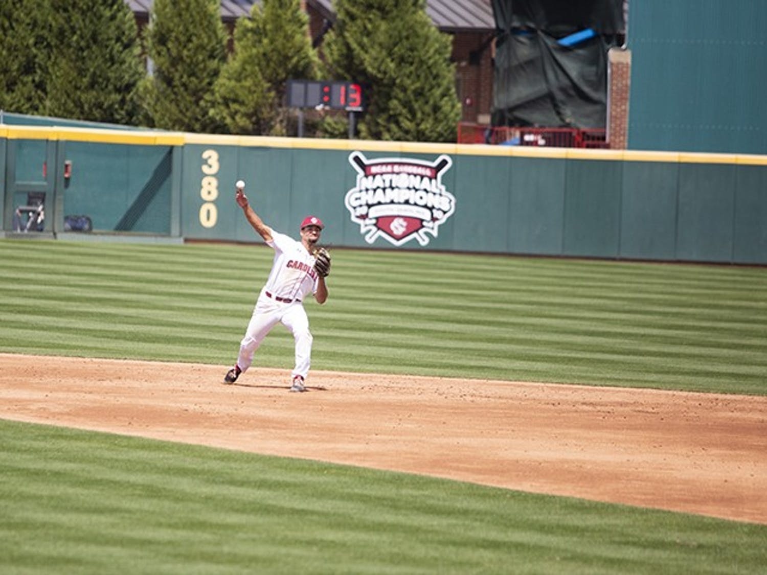 Sophomore Noah Campbell throws the ball to first during the second game against Auburn at Founders Park on Saturday.
