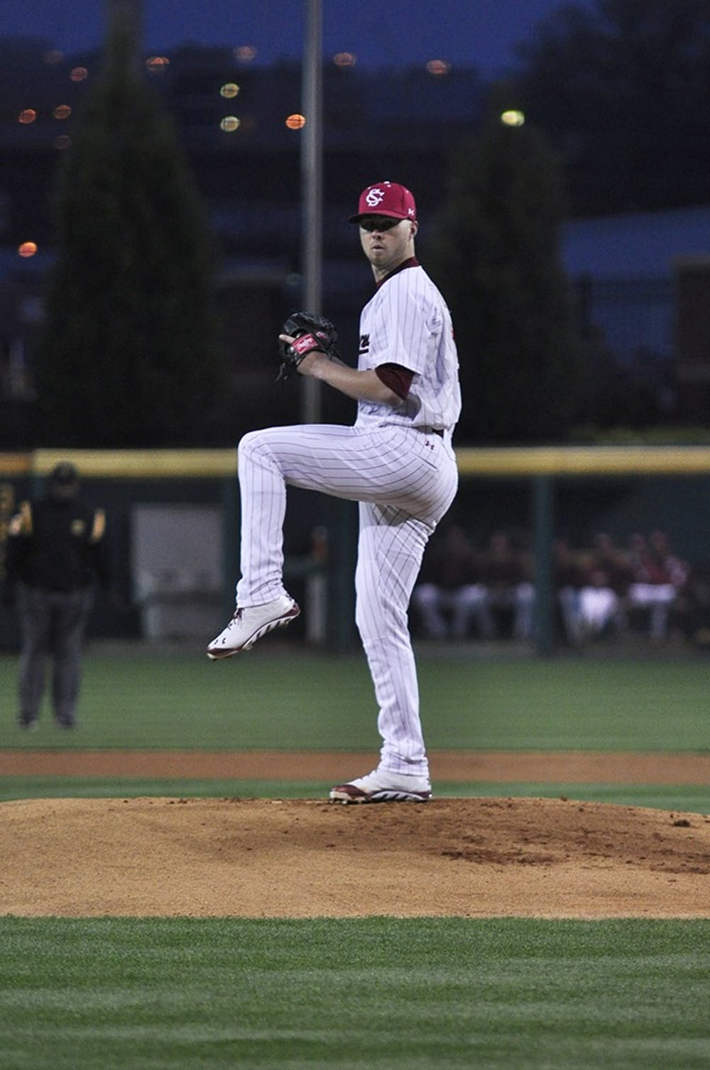 <p>Sophomore Evan Beal took his fi rst loss of the season Friday night after giving up eight runs in 3.2 innings of work.</p>