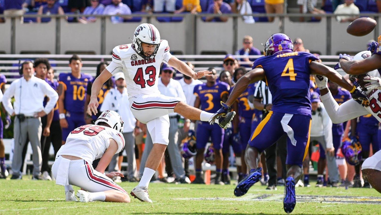 Parker White kicks the game winning field goal.