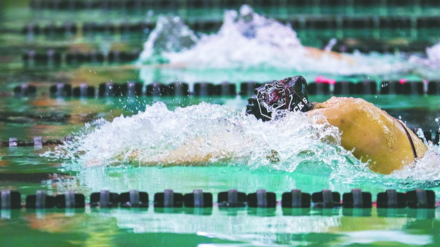 A member of the swim team finishes a lap during the 2020 season. Swim and dive head coach McGee Moody and South Carolina have mutually agreed to part ways.