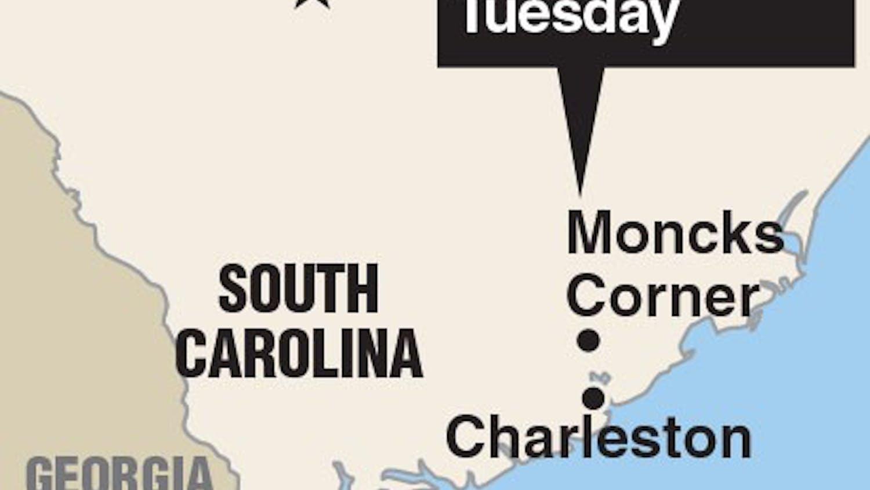 Locator map of Moncks Corner, S. Carolina where an F-16 collided with a Cessna.