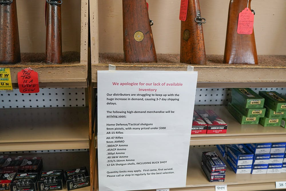 <p>Gun stores across the country, such as the one seen above, have experienced a shortage of ammunition.</p>
