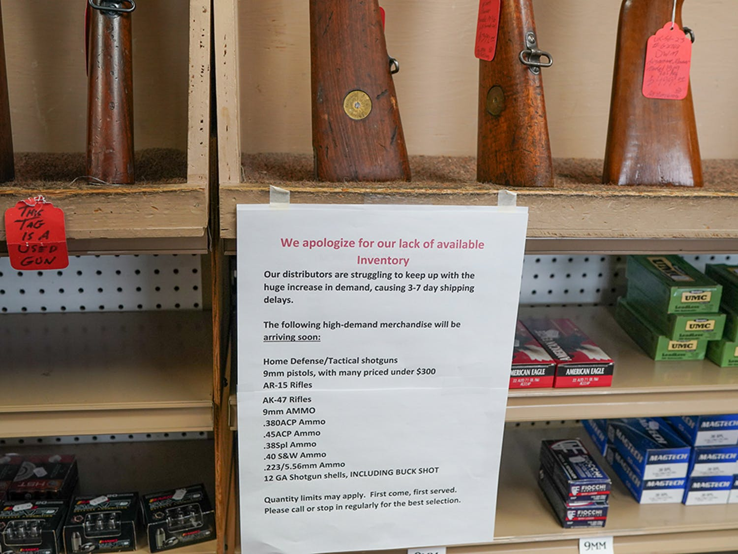 Gun stores across the country, such as the one seen above, have experienced a shortage of ammunition.
