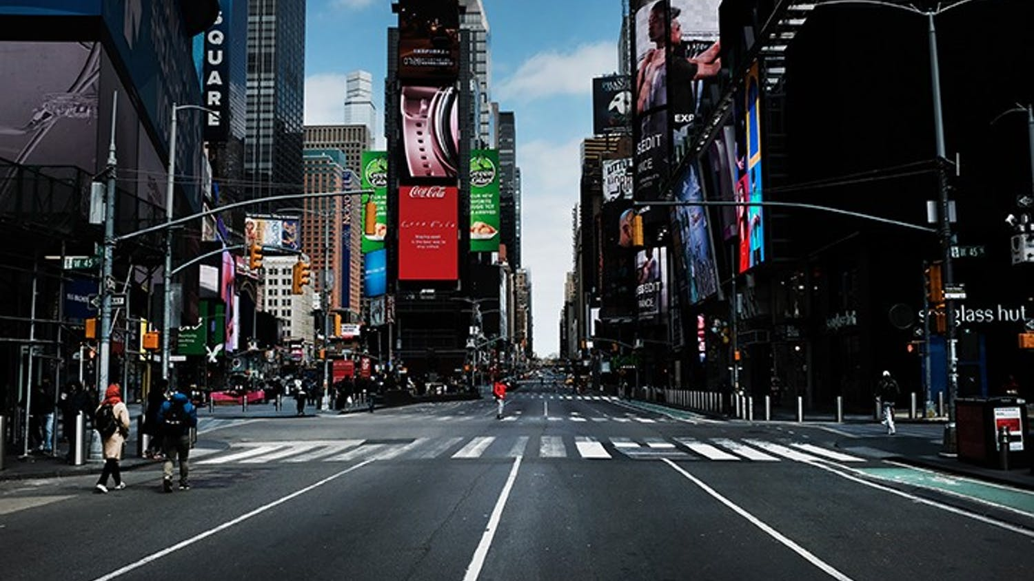 Times Square in New York stands mostly empty as as much of the city is void of cars and pedestrians amid the coronavirus pandemic, March 22, 2020.