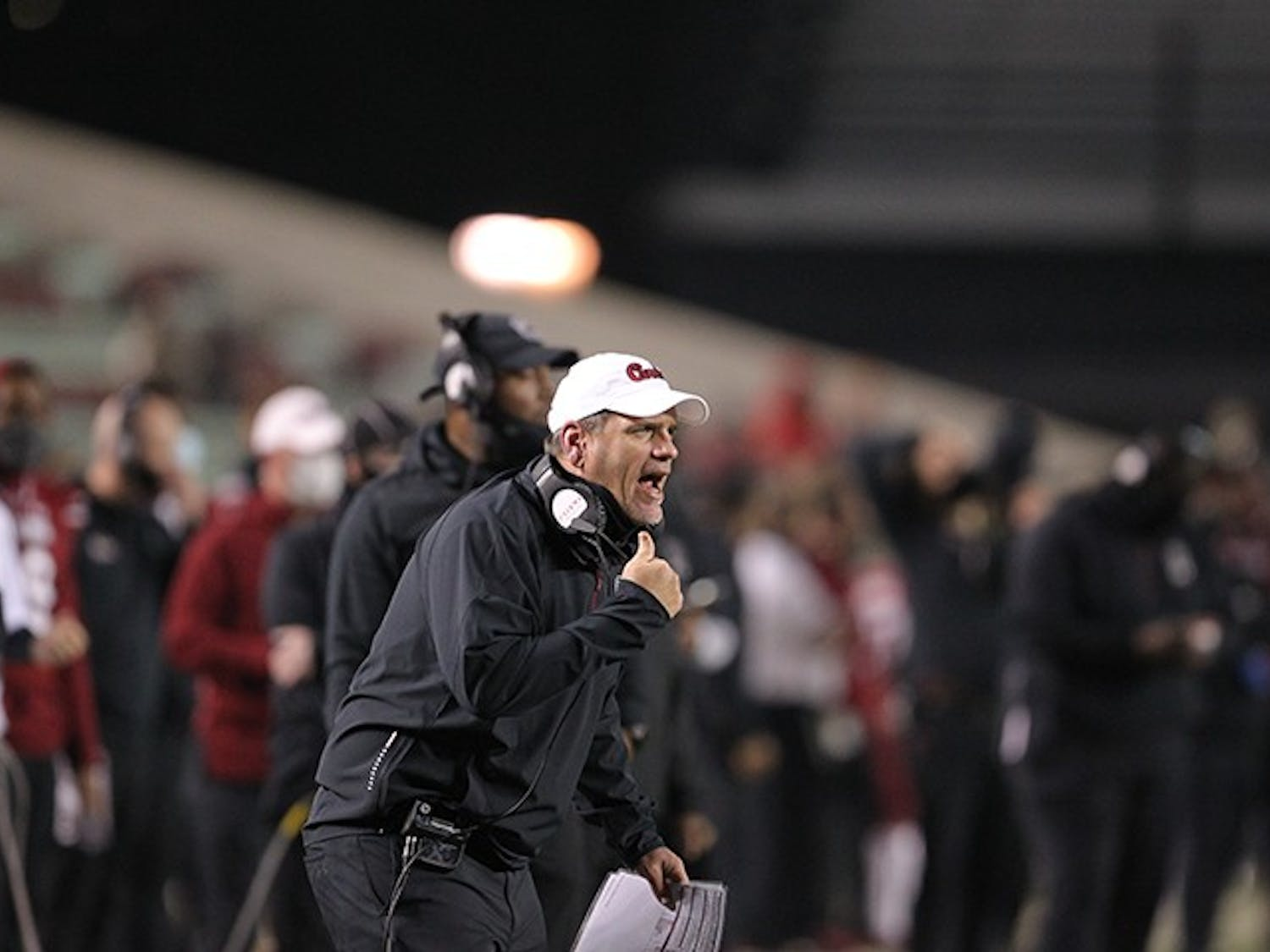 Interim head coach Mike Bobo on the sideline against University of Georgia on Saturday, Nov. 28, 2020.