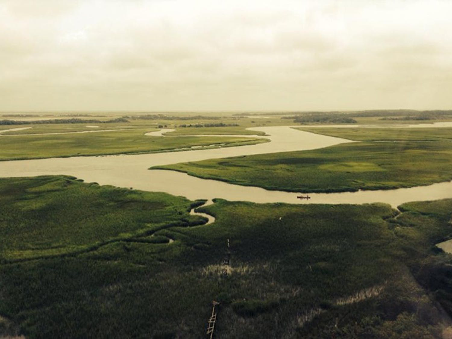 This is the view of the rivers and marshes of Bald Head Island in North Carolina.