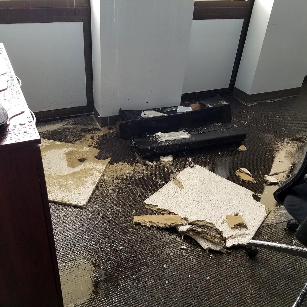 <p>A ceiling of an office in the J. Welsh Humanities Office Building fell apart due to the recent flood.&nbsp;</p>