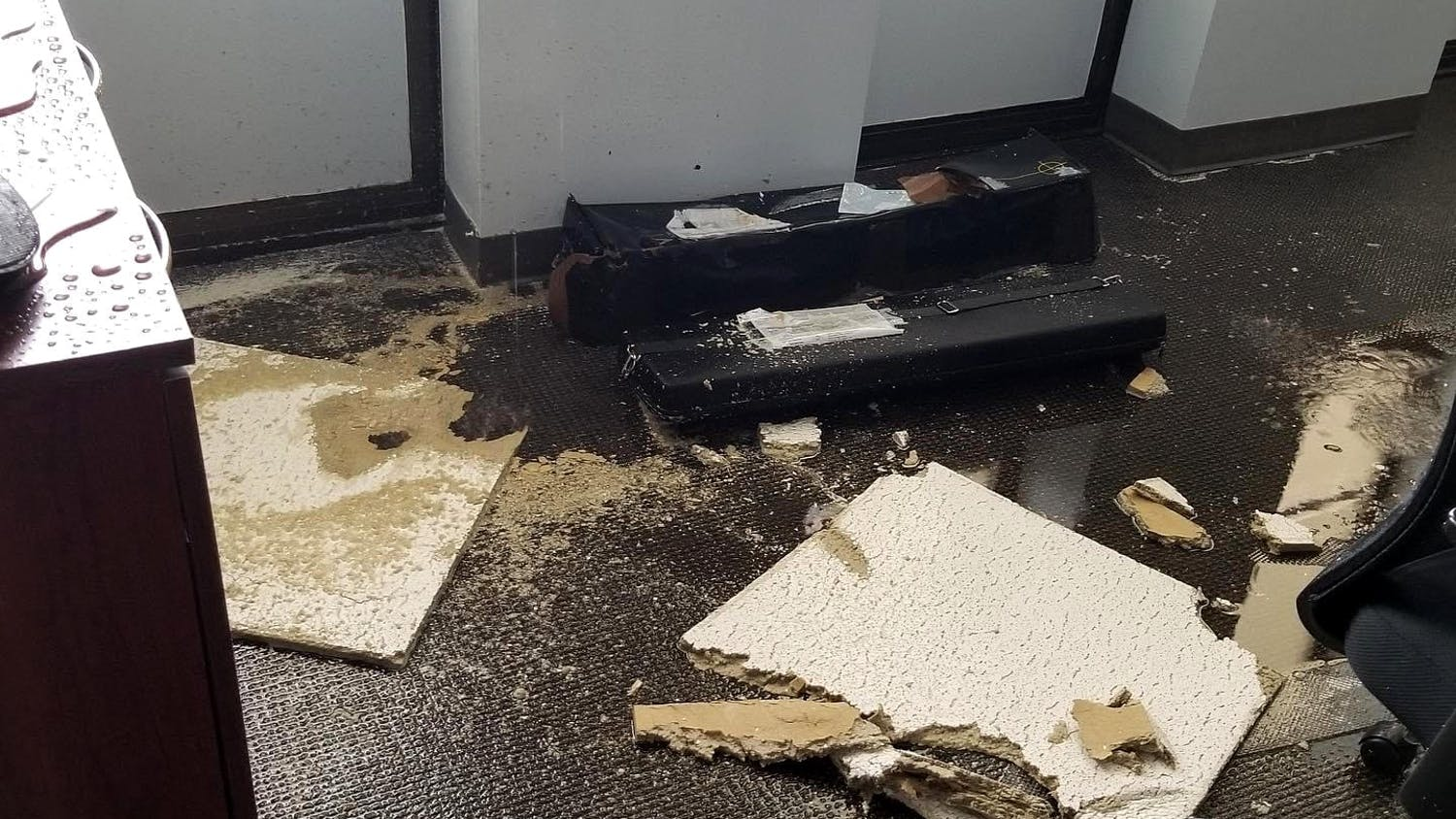 A ceiling of an office in the J. Welsh Humanities Office Building fell apart due to the recent flood.