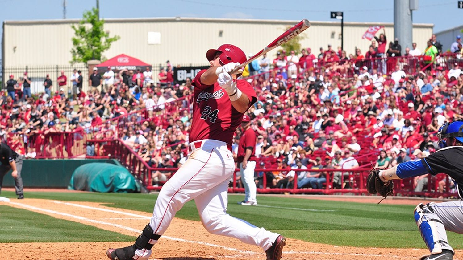 USC sophomore Brison Celek is riding a nine-game hitting streak. He had the game-winning hit in Saturday's second contest.