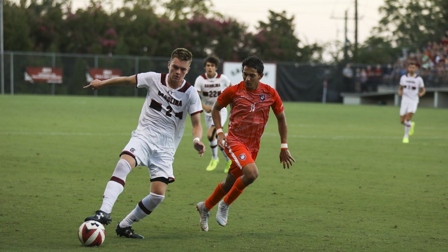 Midfielder Mitchell Myers dribbles in a game against Clemson in 2018. The Gamecocks host the Tigers Thursday night at Stone Stadium.