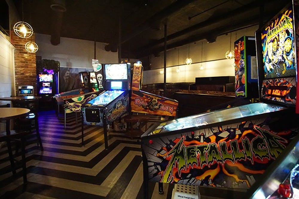 """<p>Pinball machines with pop culture themes fill Bang Back Pinball Lounge. The """"barcade"""" also has an indoor food truck, where customers can order from a range of different cuisines.&nbsp;</p>"""