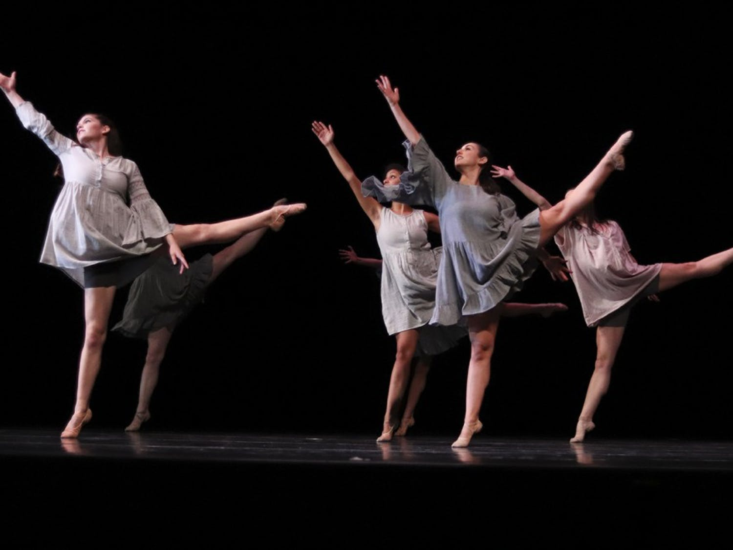A group of dancers showcase their talent in the 2017 USC Dance Concert.