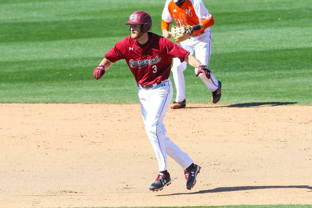 <p>Sophomore second baseman Braylen Wimmer during the game against Mercer. South Carolina won 1-0 in the series' third game on Sunday, March 7, 2021.&nbsp;</p>