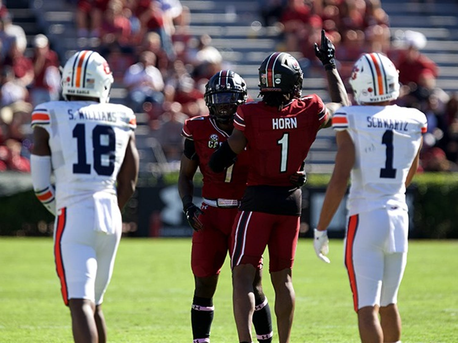 Cornerback Jaycee Horn celebrates his tackle during the third quarter of the game on Saturday, Oct. 17. South Carolina upset Auburn 30-22 at home.