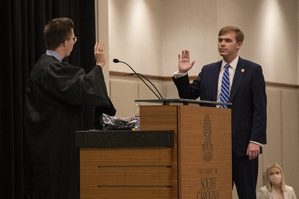 <p>New Student Body President Alex Harrell being sworn into his position. This was immediately followed with his inauguration speech, where he thanks those who played a part in his success.</p>