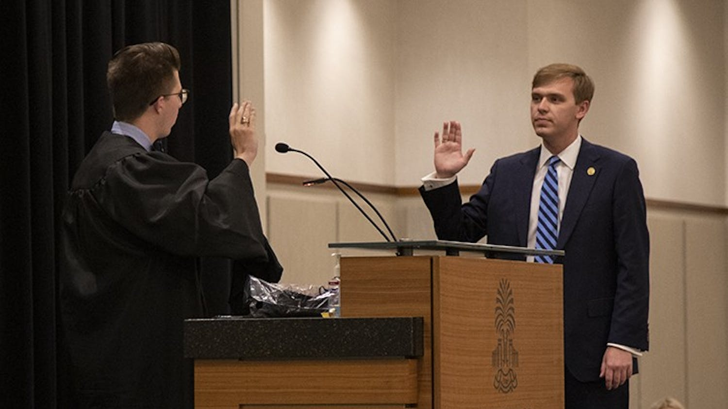 New Student Body President Alex Harrell being sworn into his position. This was immediately followed with his inauguration speech, where he thanks those who played a part in his success.