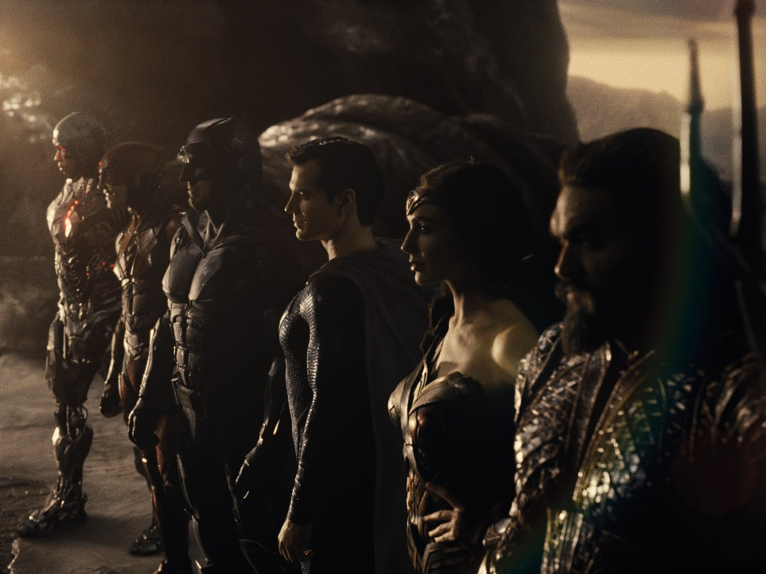 """(From left to right) Ray Fisher, Ezra Miller, Ben Affleck, Henry Cavill, Gal Gadot and Jason Momoa star in """"Zack Snyder's Justice League."""""""