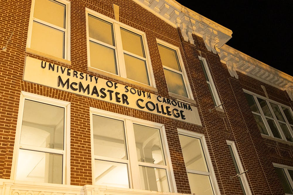 <p>The front of McMaster College, home to the School of Visual Art and Design. The building is located on the corner of Pickens Street and Senate Street.</p>