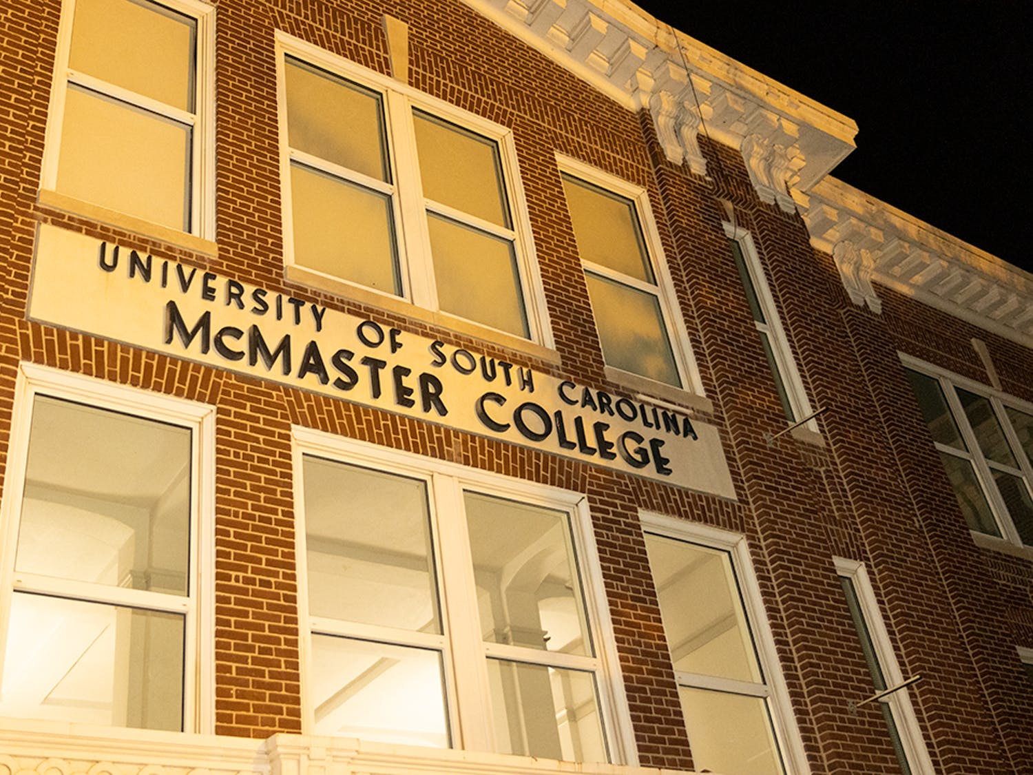The front of McMaster College, home to the School of Visual Art and Design. The building is located on the corner of Pickens Street and Senate Street.