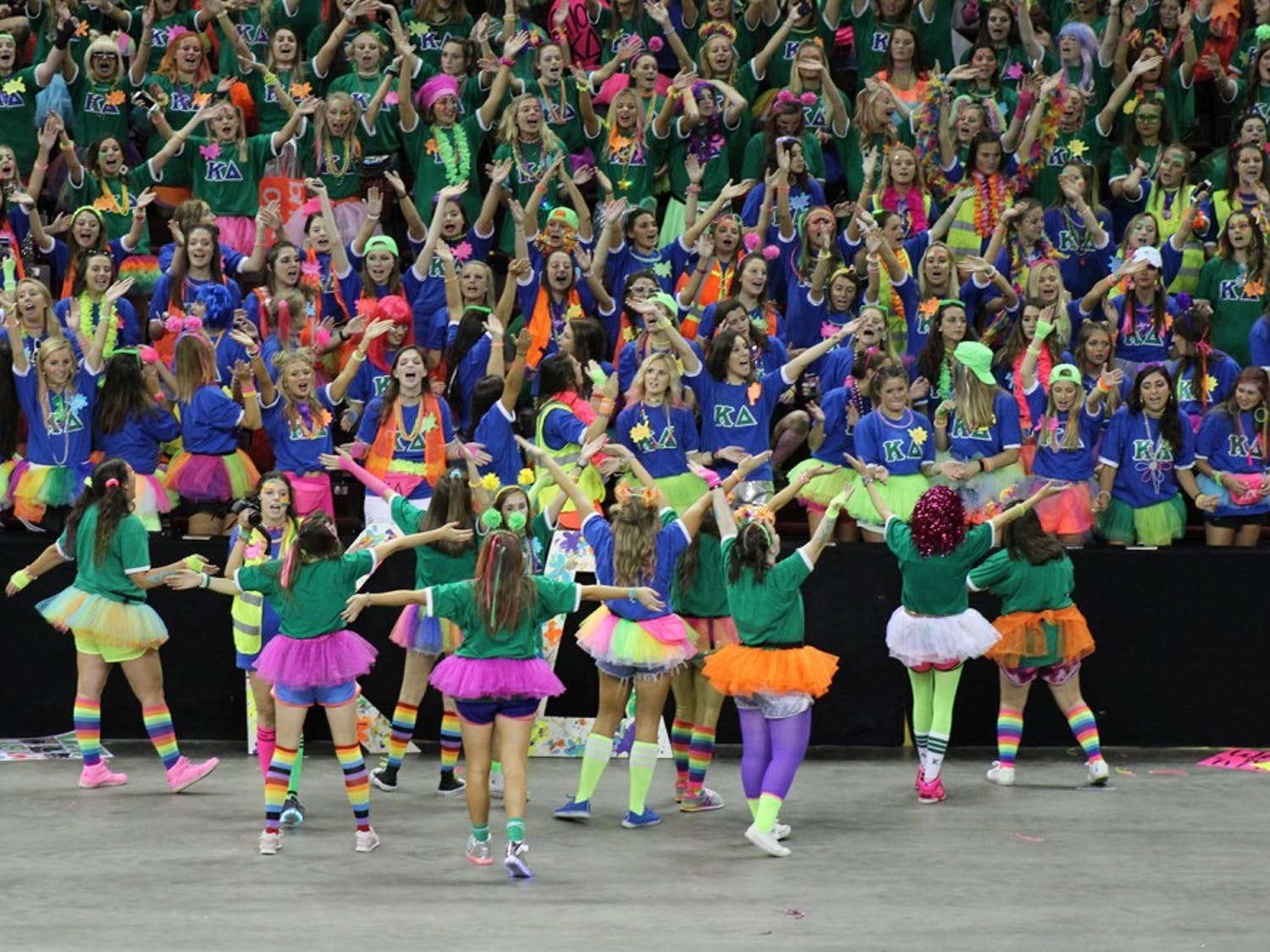 Kappa Delta gets excited to welcome the new pledge class into its sorority on Bid Day 2017.