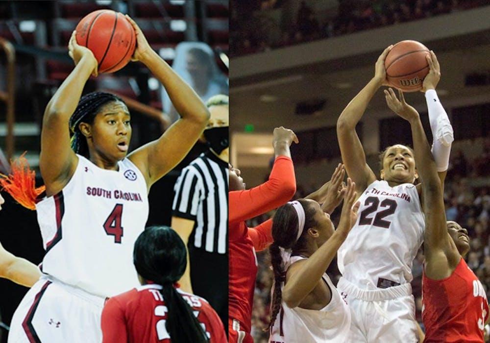 <p>&nbsp;Sophomore forward Aliyah Boston and USC alum and women's basketball player A'ja Wilson.&nbsp;</p>