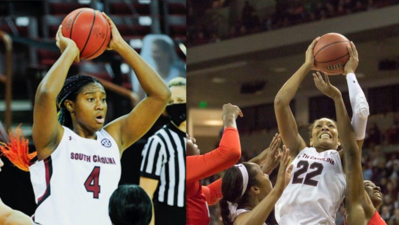 Sophomore forward Aliyah Boston and USC alum and women's basketball player A'ja Wilson.
