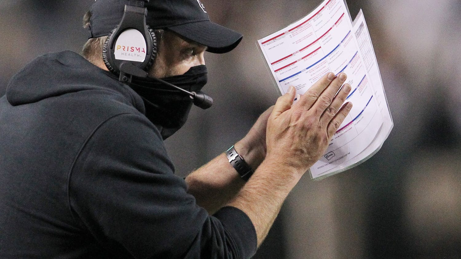 Interim head coach Mike Bobo calls to players from the sidelines during the Nov. 21 game against Missouri. The Gamecocks fell to 2-6 after the loss.