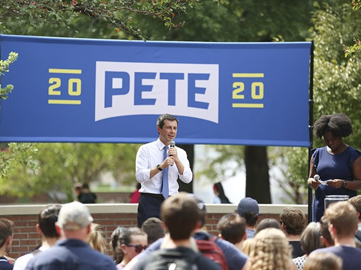 Democratic presidential candidate Pete Buttegieg speaks to students and supporters at Russell House on Tuesday afternoon.