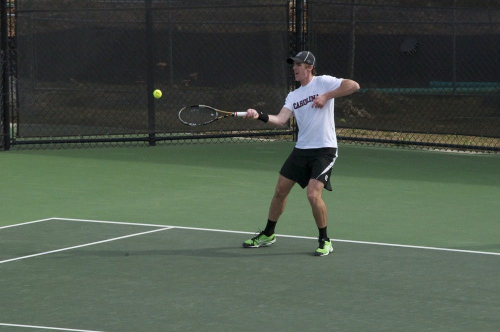 "<p>Senior Harry Menzies won his first <span class=""caps"">SEC</span> singles match of the season against Auburn on Friday, but he lost his Sunday match.</p>"