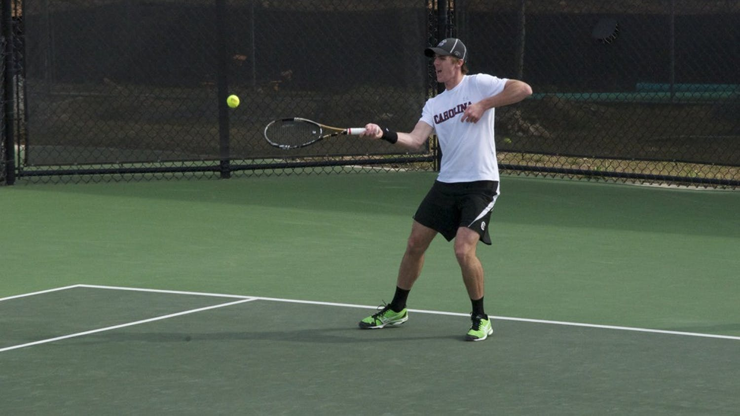 Senior Harry Menzies won his first SEC singles match of the season against Auburn on Friday, but he lost his Sunday match.