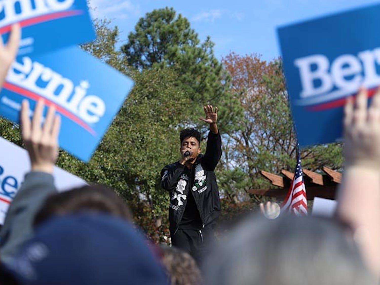 Southern hip-hop duo, Blackillac, comprised of emcees Zeale and Phranchyze, singing at Bernie Sanders' rally at Finlay Park in Columbia, South Carolina, on Feb. 28. The duo hails from Austin, Texas.