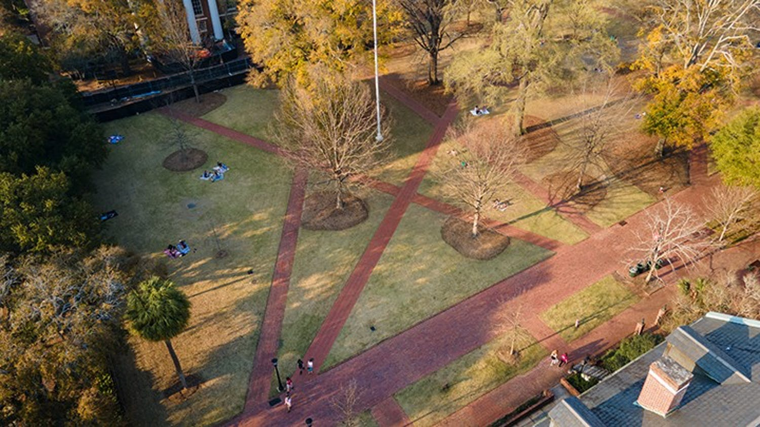 An aerial view of the Horseshoe located on the University of South Carolina's campus.